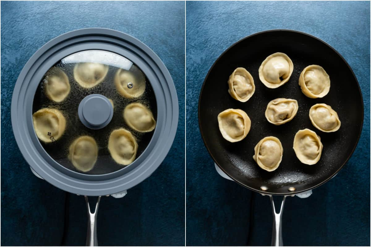 Two photo collage showing the lid taken off the steamed dumplings and them frying for an extra minute.