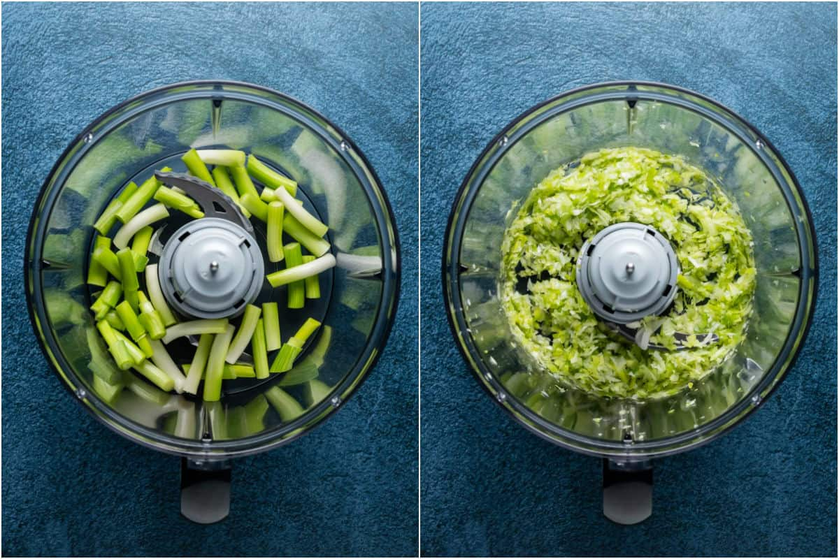 Two photo collage showing green onions added to food processor and processed to finely chopped.