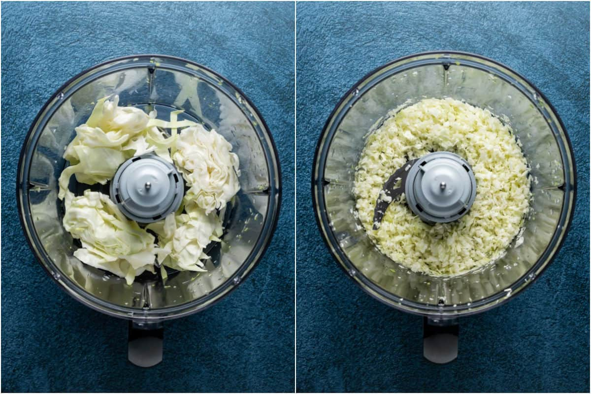 Two photo collage showing chopped cabbage added to food processor and processed until finely chopped.