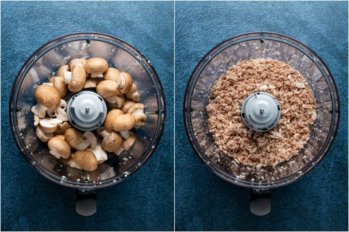 Two photo collage showing mushrooms added to food processor and processed until finely chopped.
