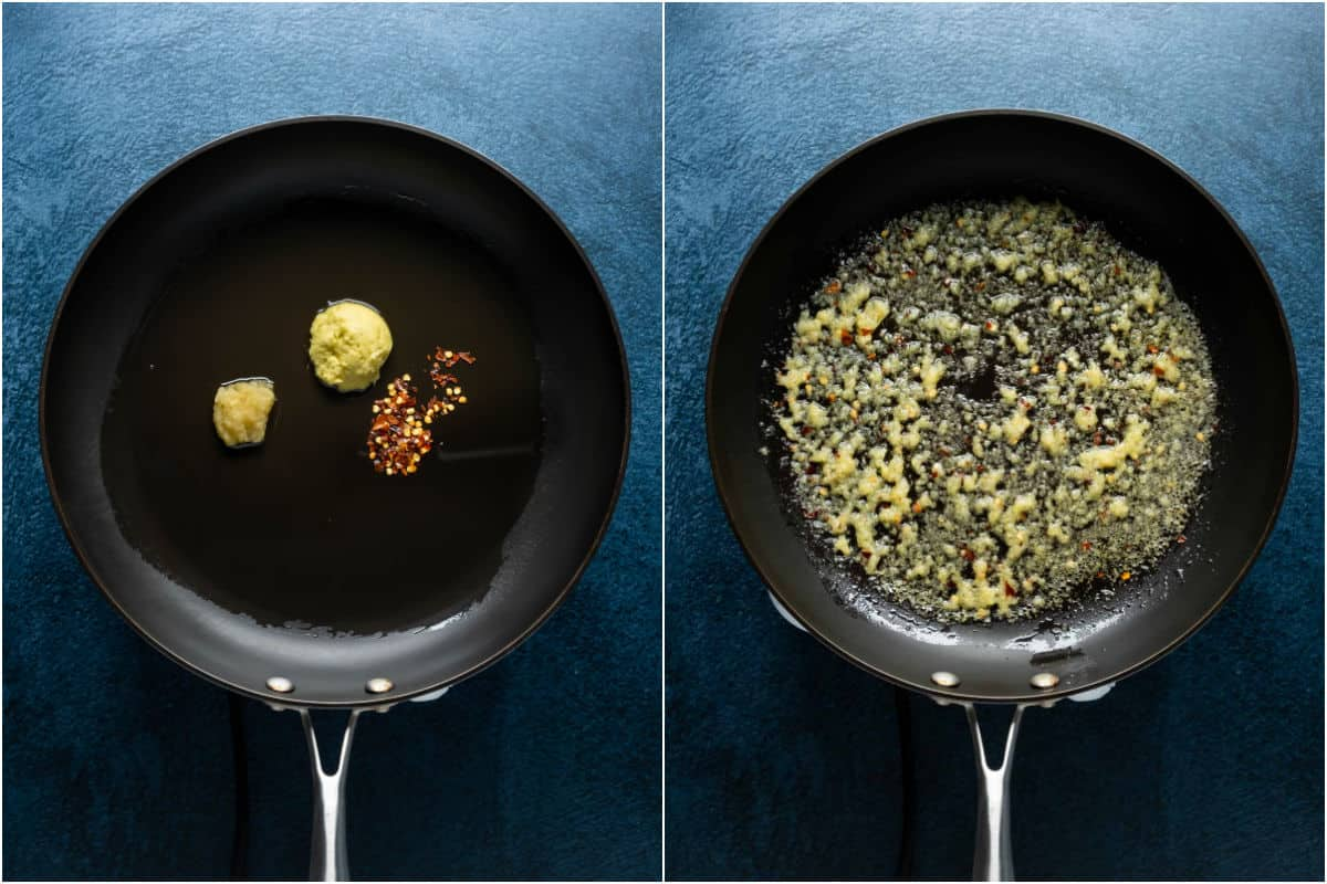 Two photo collage showing oil, crushed garlic, minced ginger and red pepper flakes added to frying pan and sautéed.