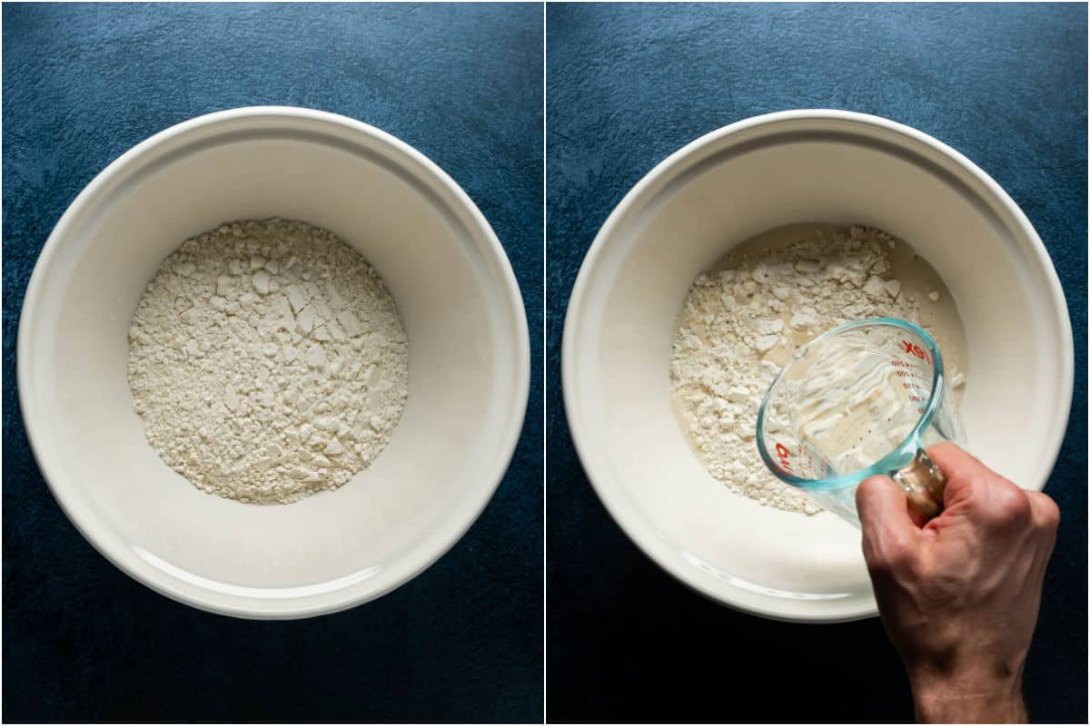 Two photo collage showing flour added to mixing bowl and hot water poured in.