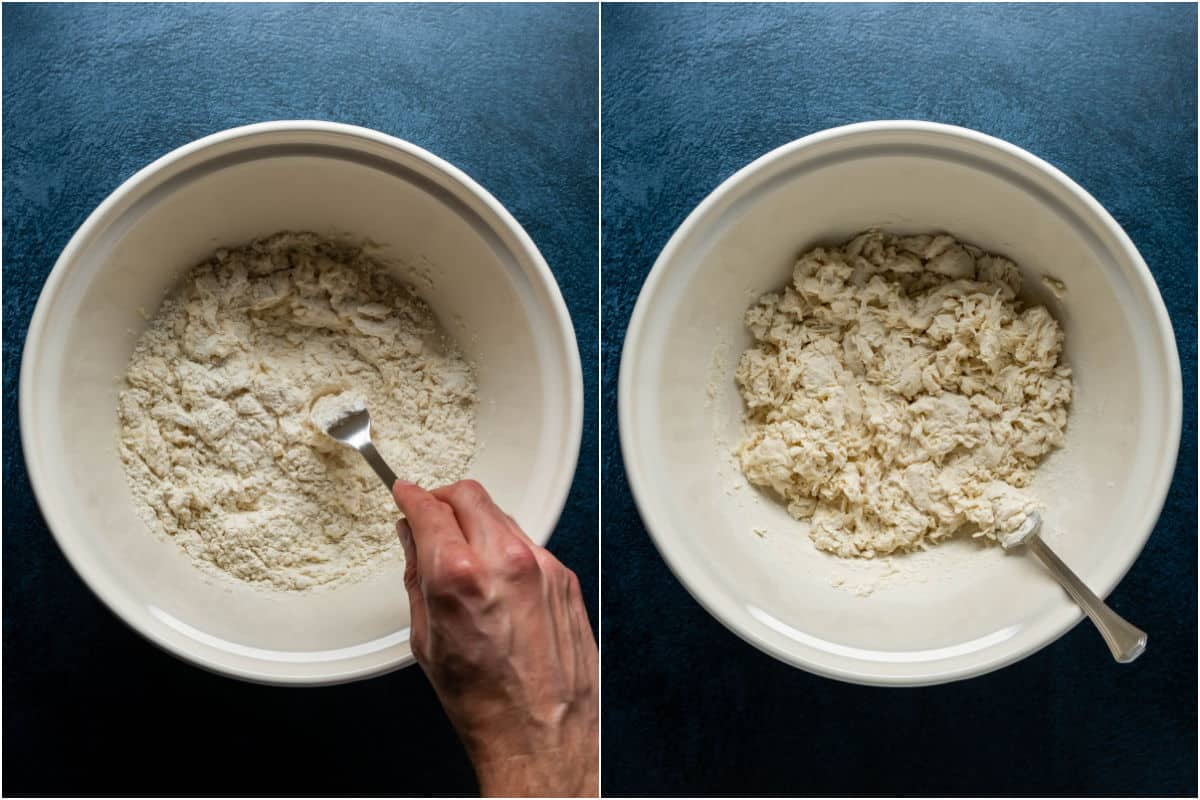 Two photo collage showing mixing the flour and water into a dough.