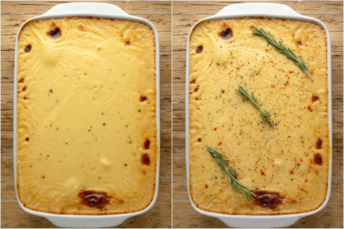 Two photo collage showing baked moussaka and then decorated with fresh rosemary sprigs.