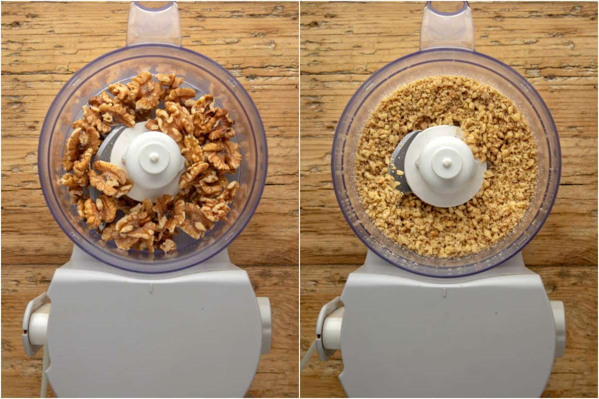 Two photo collage showing walnuts in a food processor and then processed into crumbles.