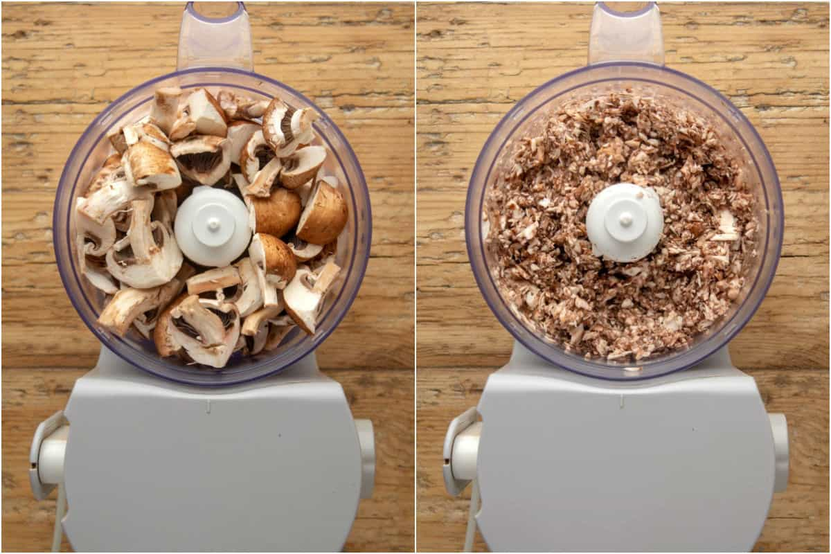 Two photo collage showing sliced mushrooms in a food processor and then finely chopped.