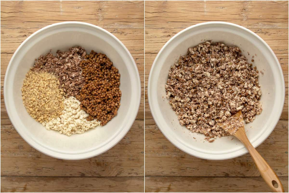 Two photo collage showing ingredients for vegan mince in a mixing bowl and tossed together.