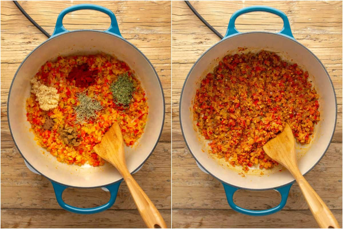 Two photo collage showing onions, red pepper and spices in a pot and sautéed.