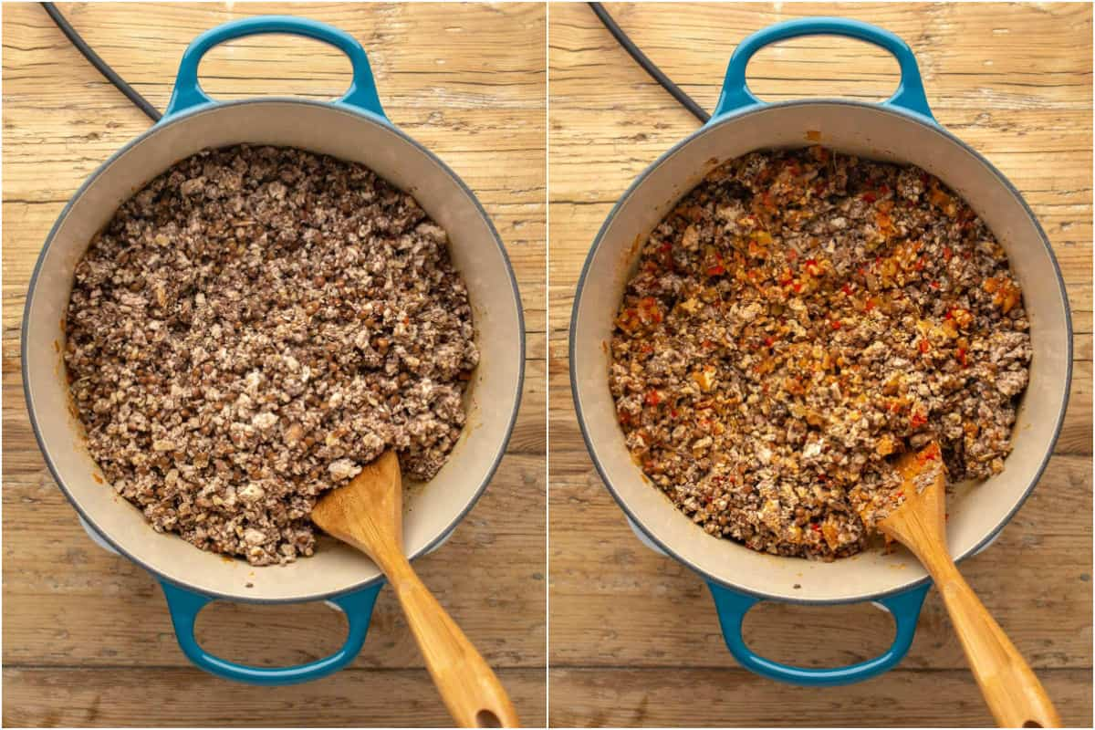 Two photo collage showing veggie mince mix added to pot and tossed with onions and spices.