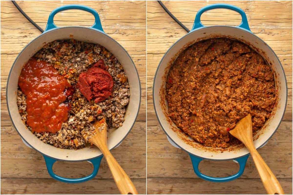 Two photo collage showing tomato paste and marinara sauce added to veggie mince and mixed in.