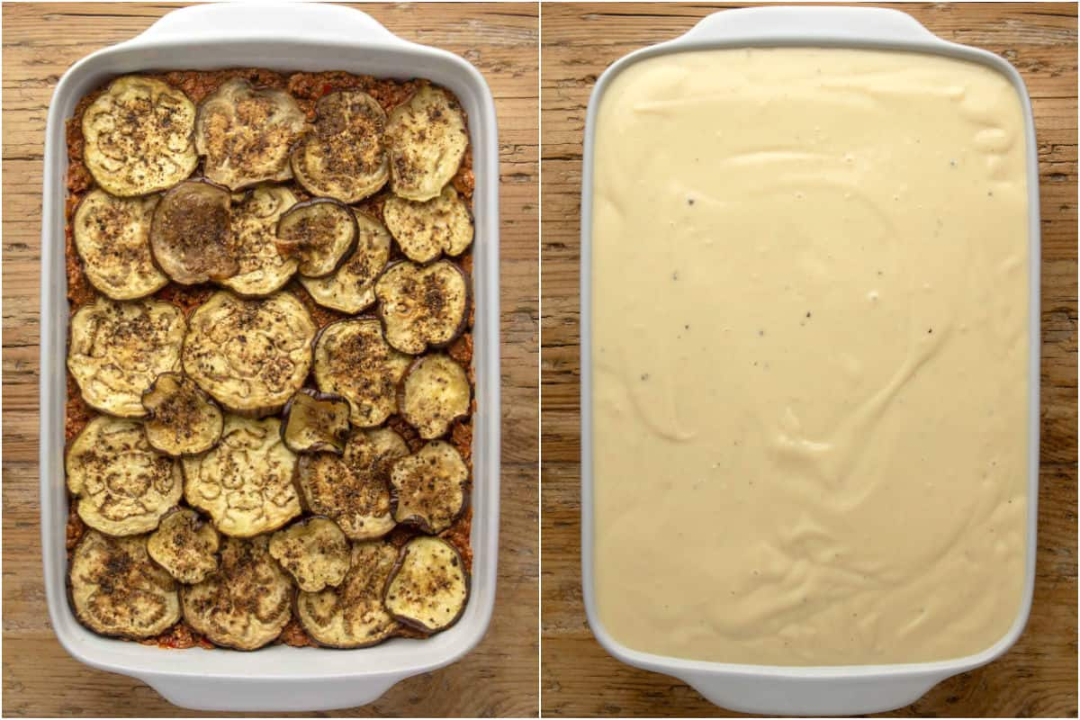 Two photo collage showing second layer of roasted eggplant added to white baking dish and topped with bechamel sauce.