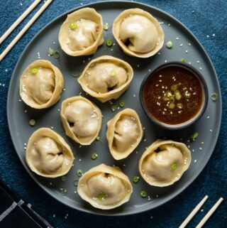 Dumplings on a plate with dipping sauce and topped with chopped green onions.