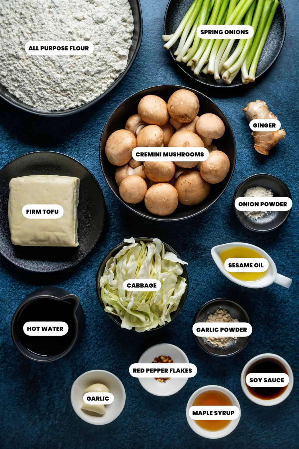 Photo of the ingredients needed to make vegan dumplings