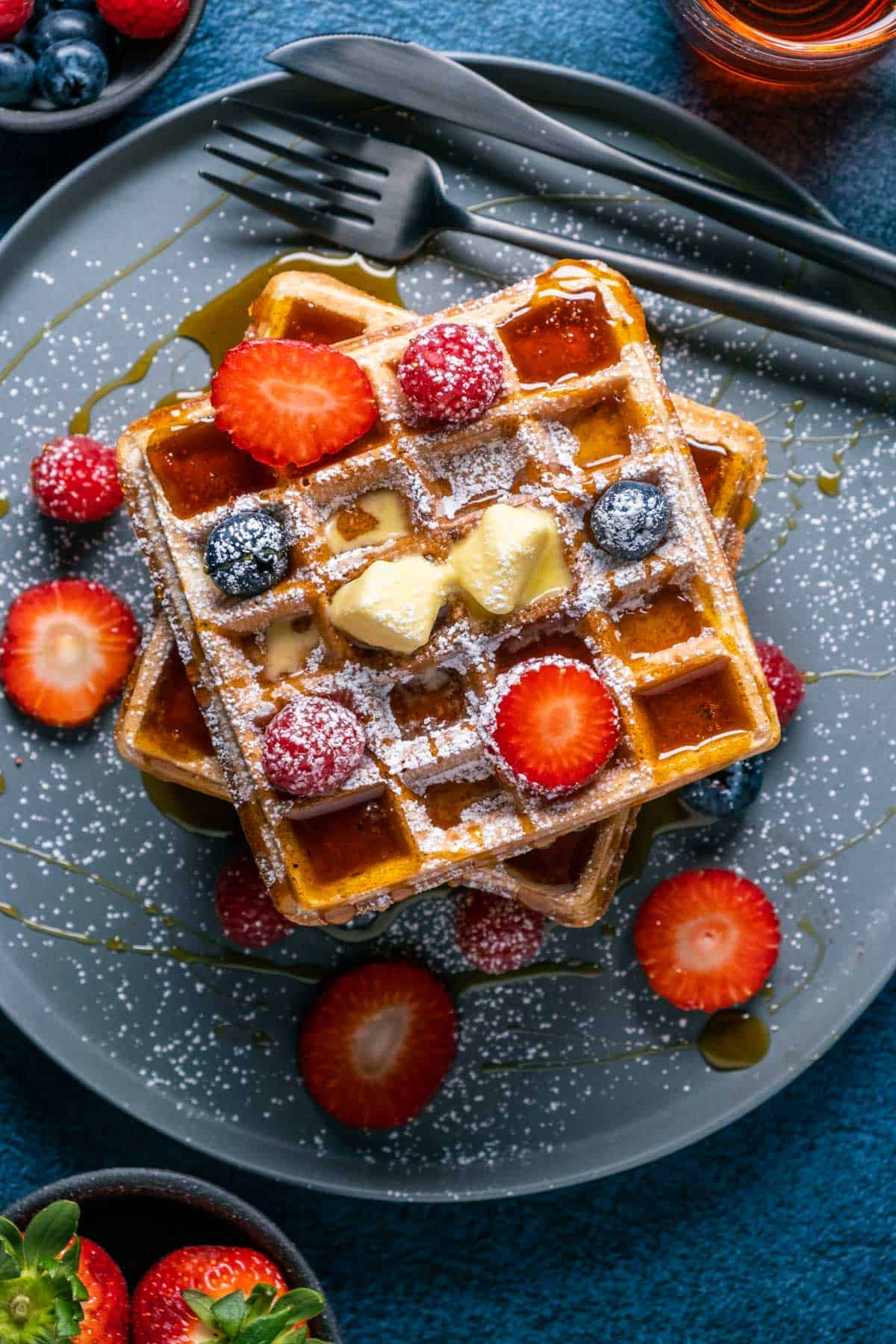 Overhead photo of vegan waffles on a plate.