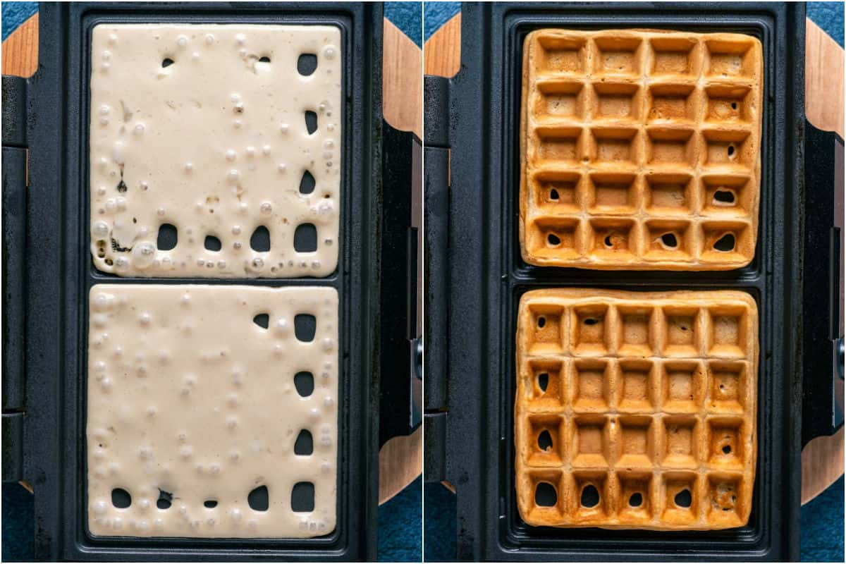 Two photo collage showing waffle batter added to waffle iron and cooked into waffles.