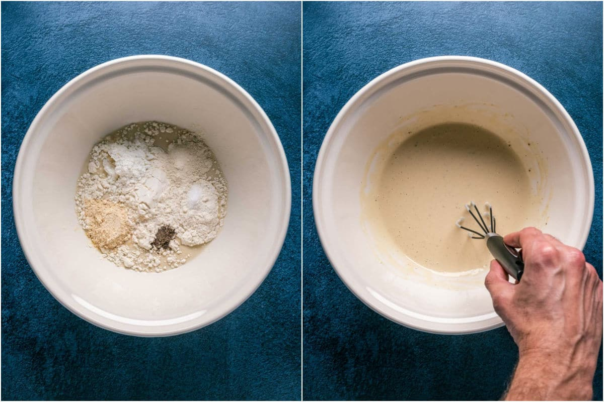 Two photo collage showing soy milk, flour, cornstarch and spices added to a bowl and whisked together.