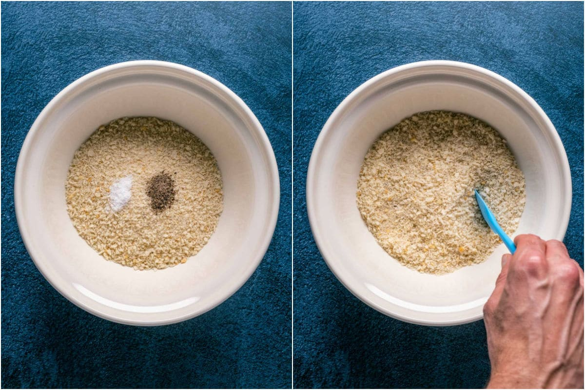 Two photo collage showing panko breadcrumbs and salt and pepper added to a bowl and mixed together.