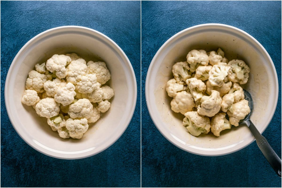 Two photo collage showing cauliflower dipped in soy milk and flour mix and tossed to coat.