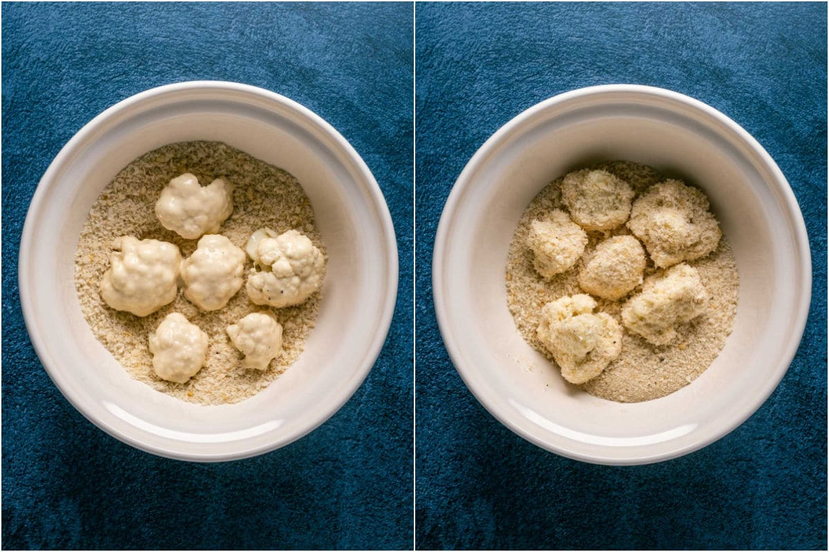 Two photo collage showing cauliflower dipped in breadcrumbs and tossed to coat.