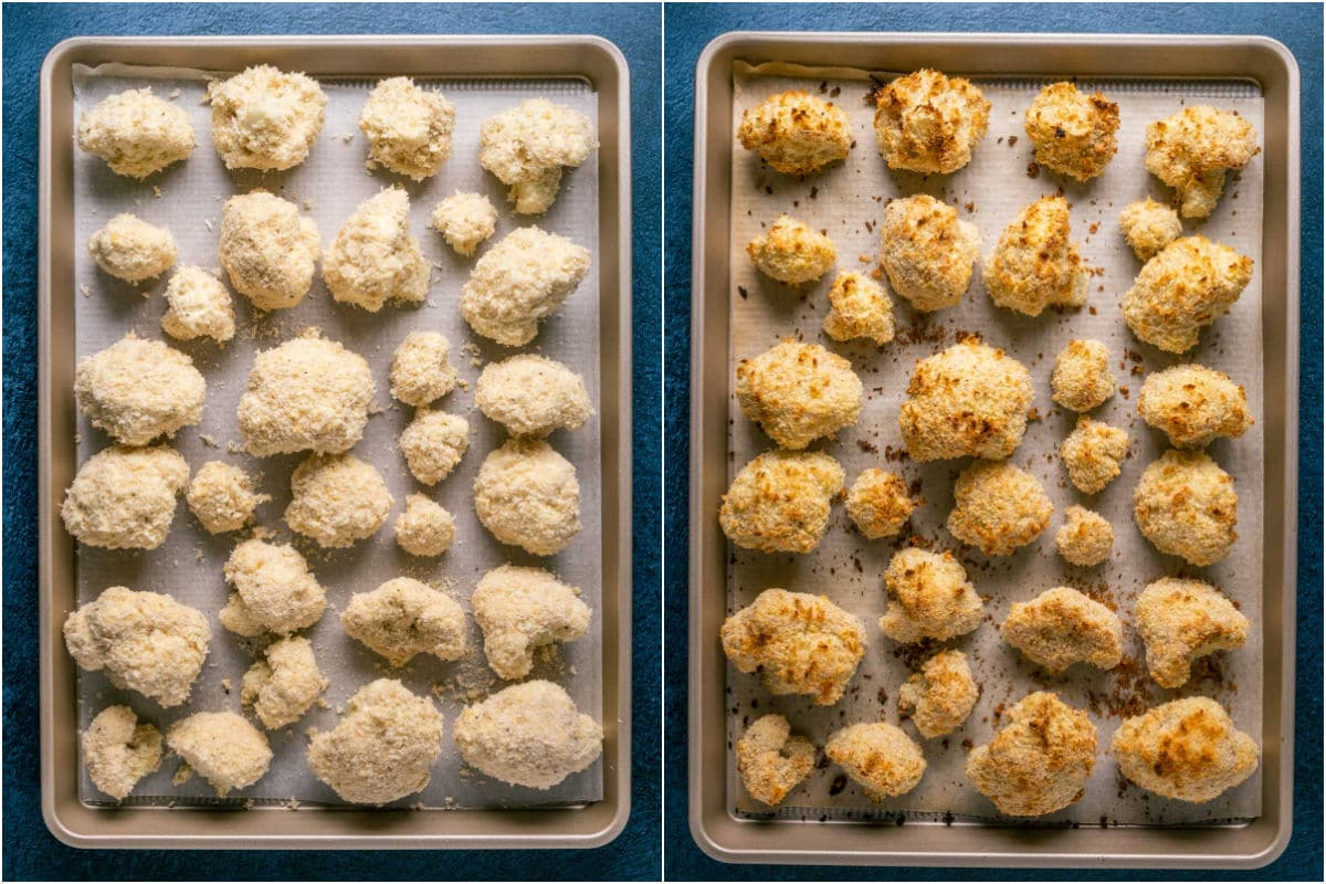 Two photo collage showing cauliflower placed onto parchment lined baking tray and then baked.