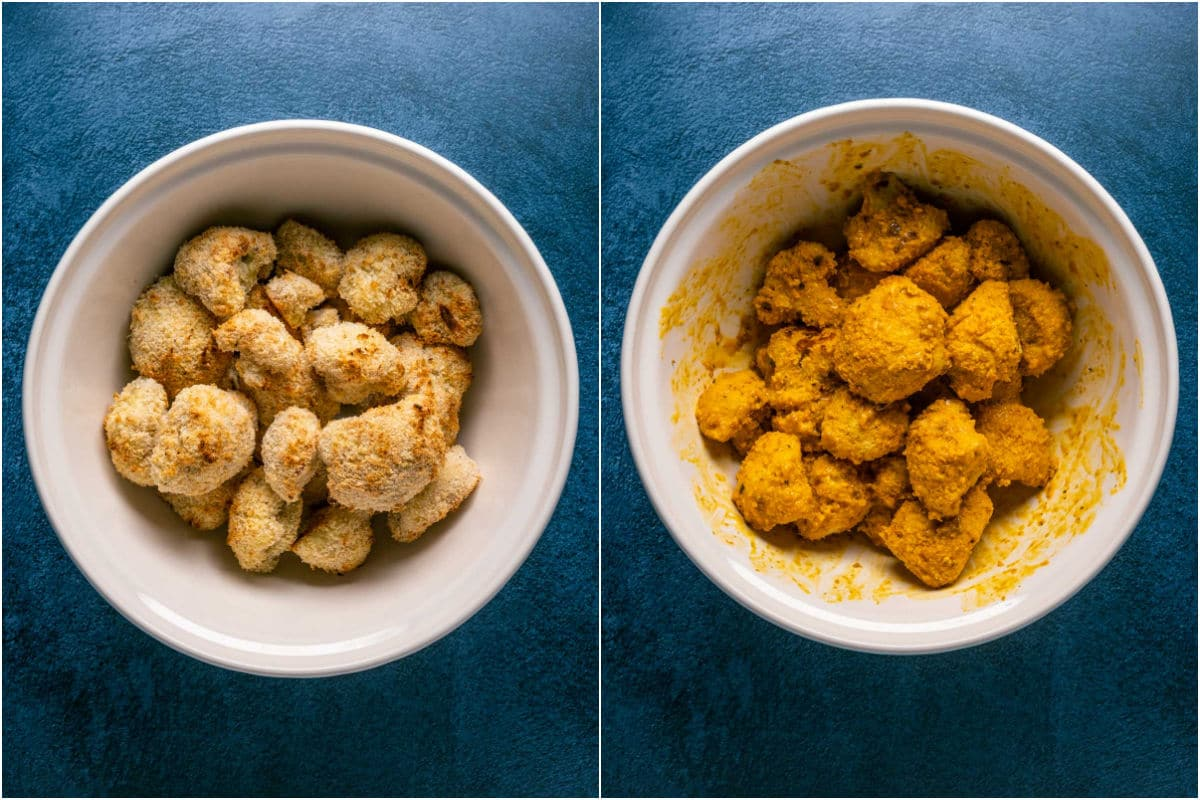 Two photo collage showing cauliflower added to bowl with buffalo sauce and tossed to coat.
