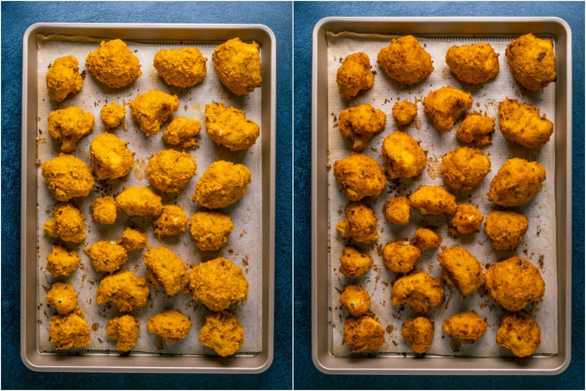 Two photo collage showing cauliflower coated in buffalo sauce on parchment lined tray and then baked.
