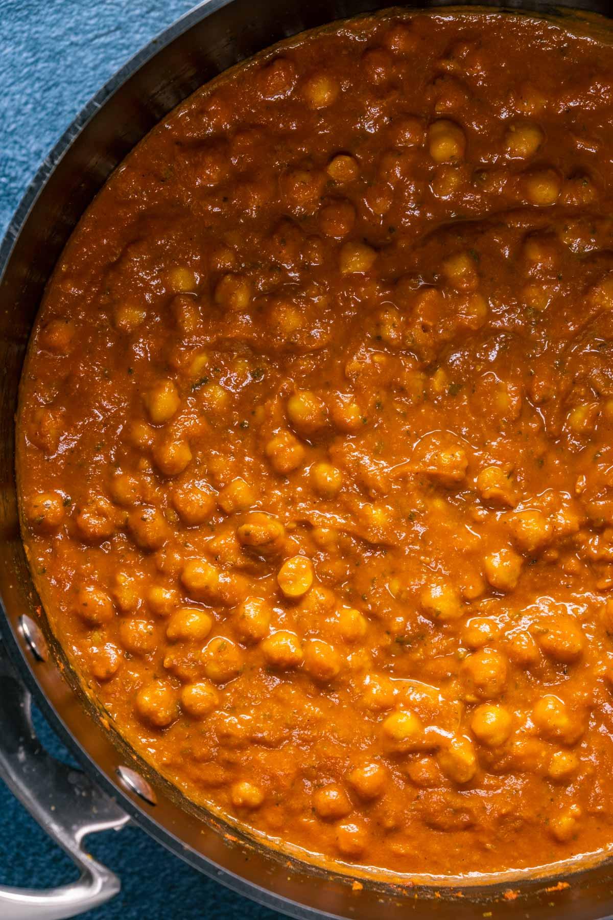 Vegan chana masala in a pot.