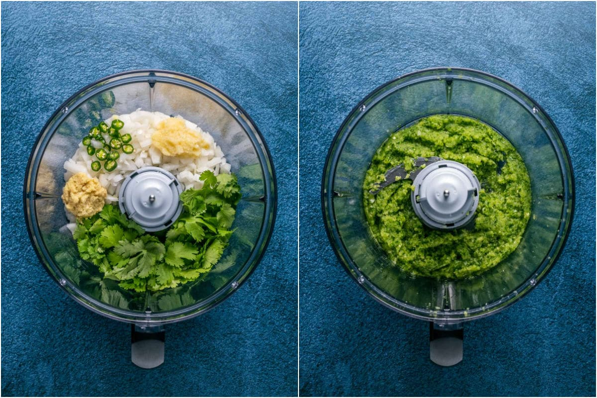 Two photo collage showing onion, garlic, ginger, chili and fresh cilantro added to a food processor and processed into a paste.