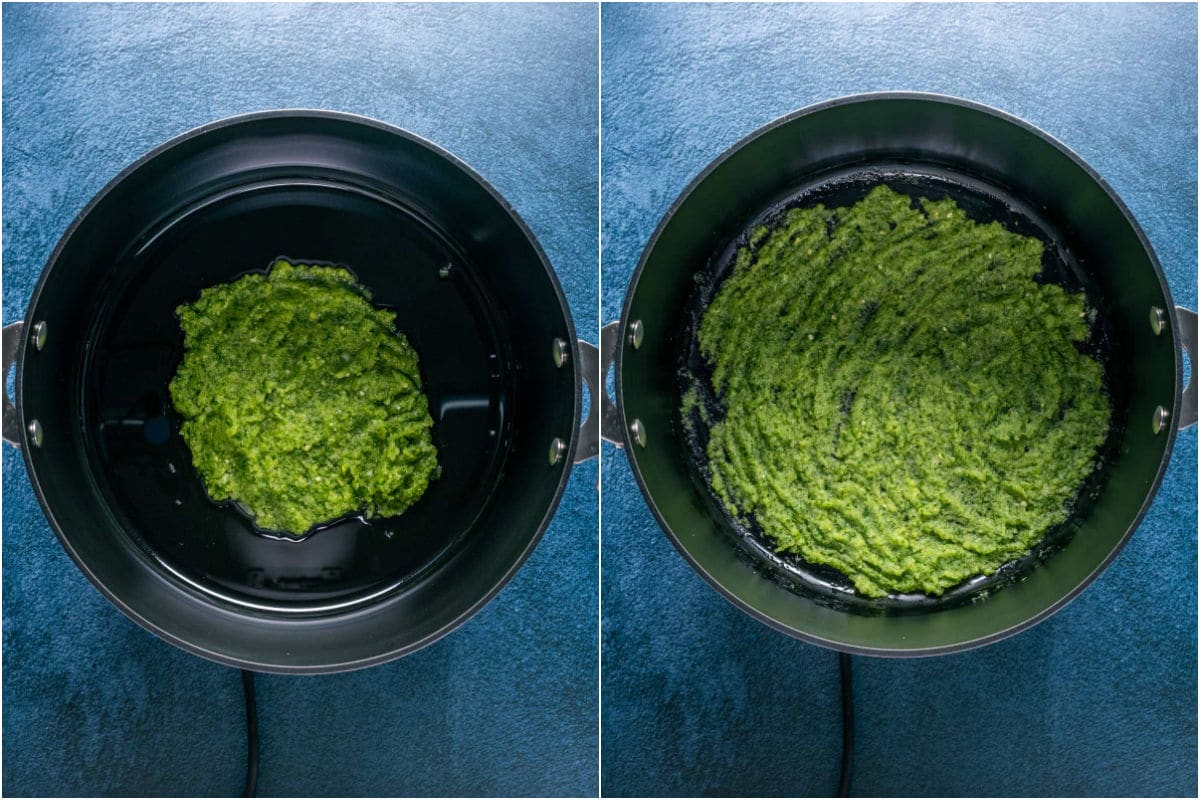 Two photo collage showing the paste made in the food processor plus olive oil added to a pot and cooked until softened.