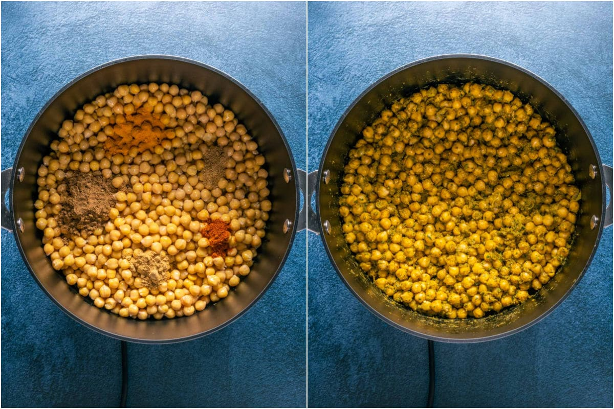 Two photo collage showing chickpeas added to pot along with spices and tossed together.