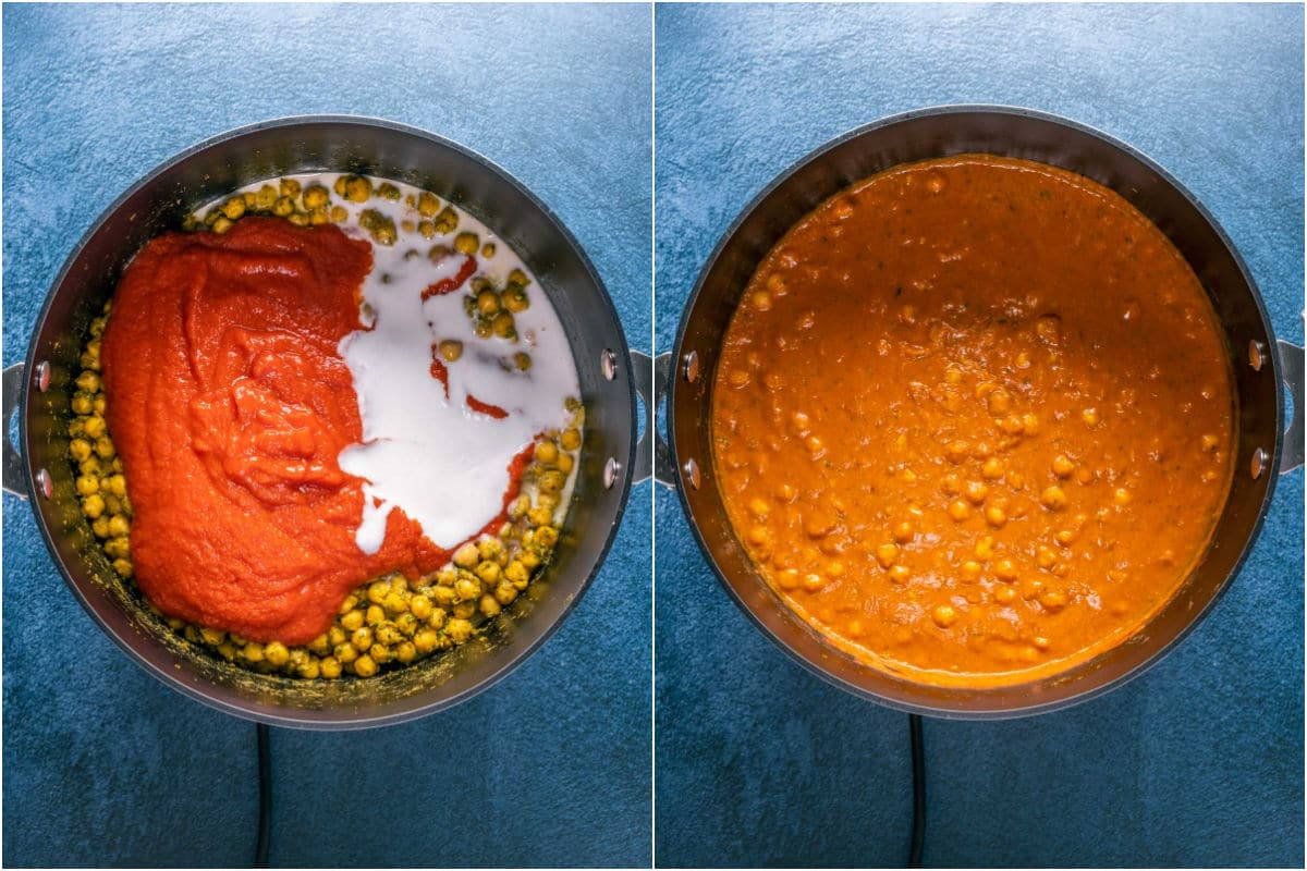 Two photo collage showing crushed tomatoes and coconut cream added to pot, mixed in and brought to a simmer.