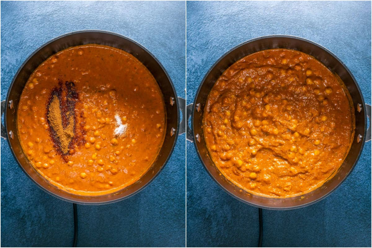 Two photo collage showing coconut sugar and salt added to pot and mixed in.