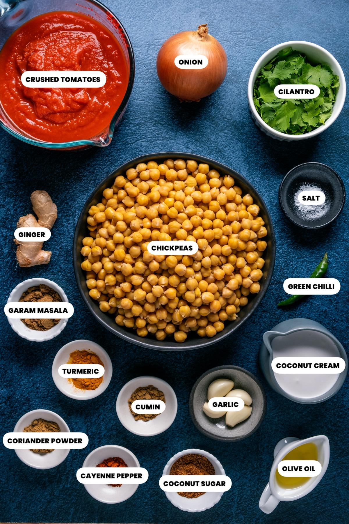 Photo of the ingredients needed to make vegan chana masala.