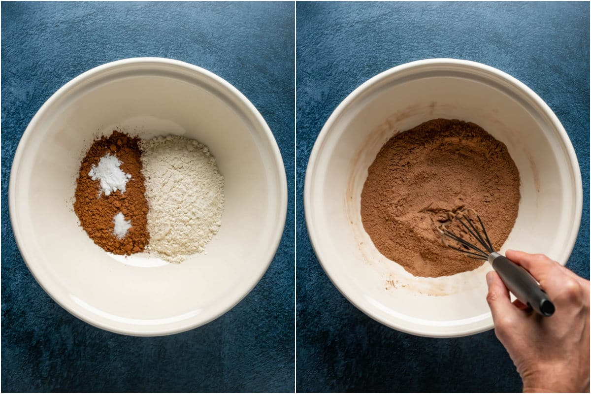 Collage of two photos showing dry ingredients added to mixing bowl and mixed together.