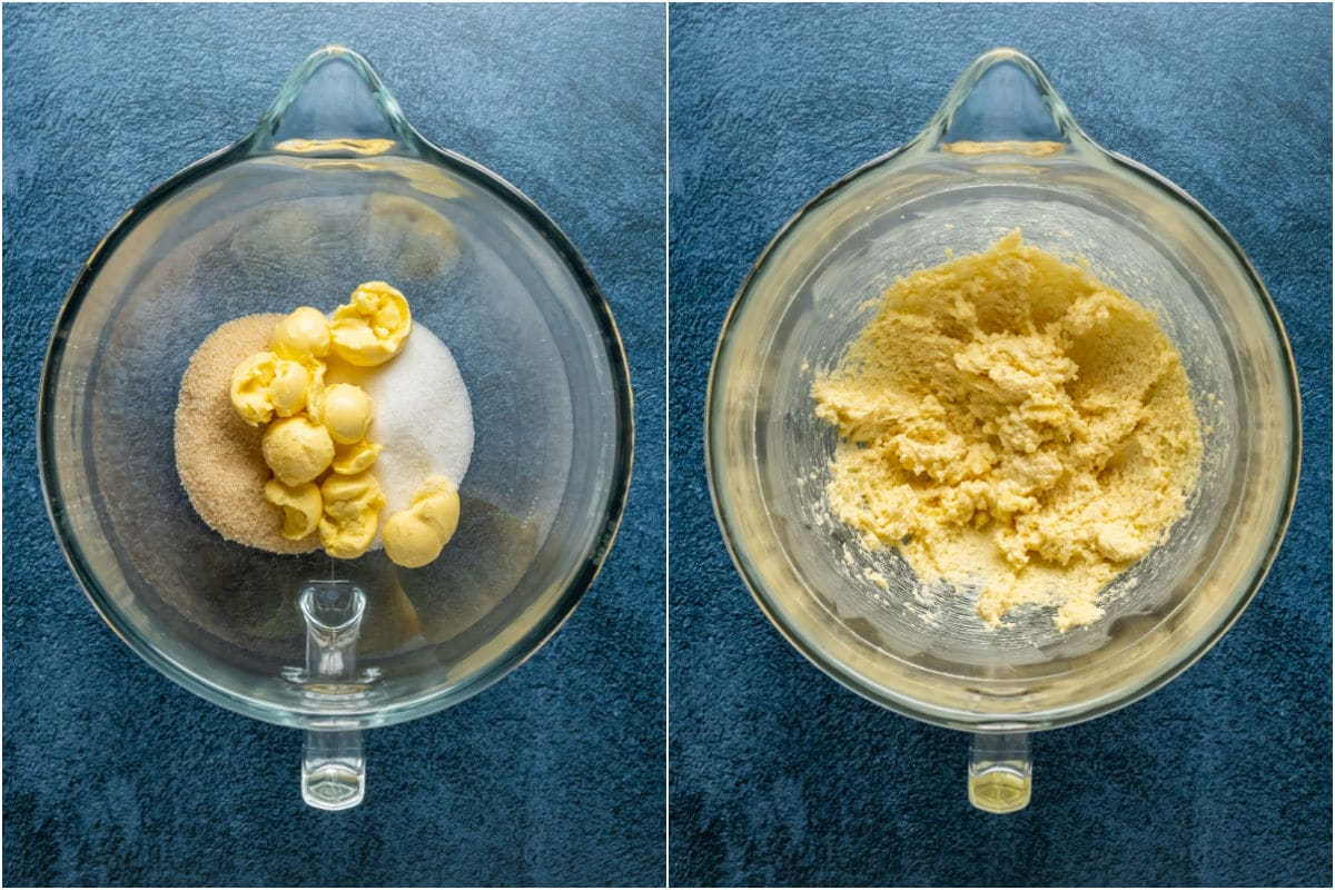 Two photo collage showing vegan butter and sugar added to stand mixer and creamed together.