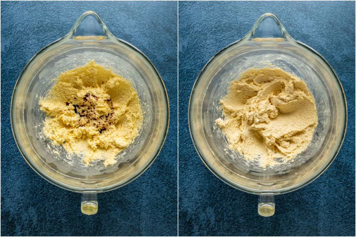 Two photo collage showing vanilla added to butter and sugar and mixed in.