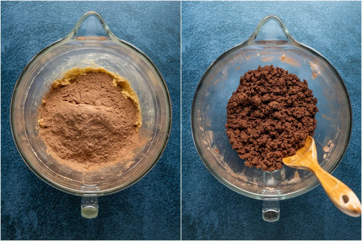 Two photo collage showing dry ingredients added to wet and mixed into a crumbly dough.
