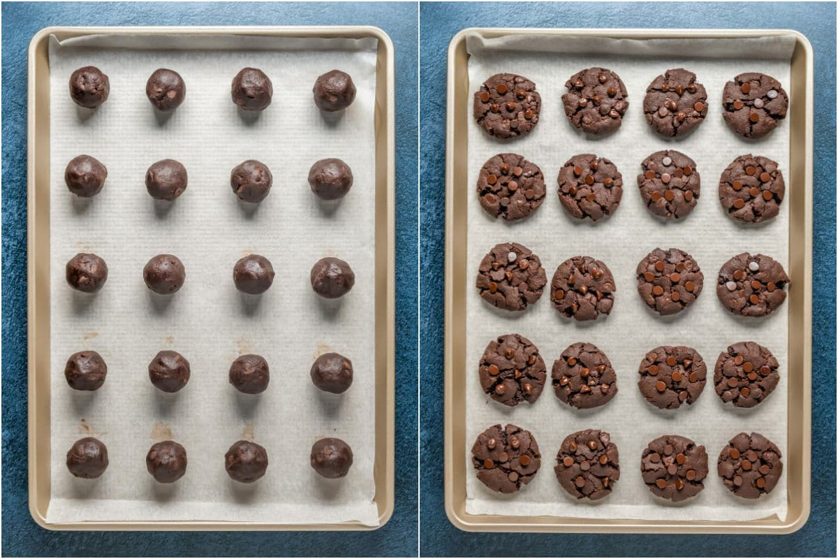 Two photo collage showing chocolate cookies before and after baking.