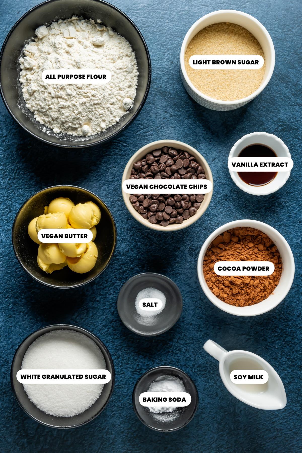 Photo of the ingredients needed to make vegan chocolate cookies.