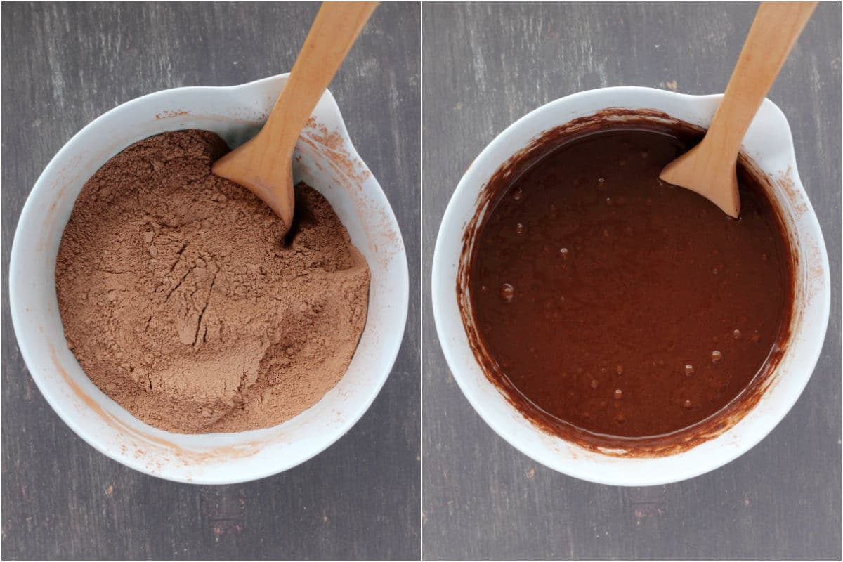 Collage of two photos showing dry ingredients mixed in a bowl and then wet ingredients added and mixed into a cake batter.
