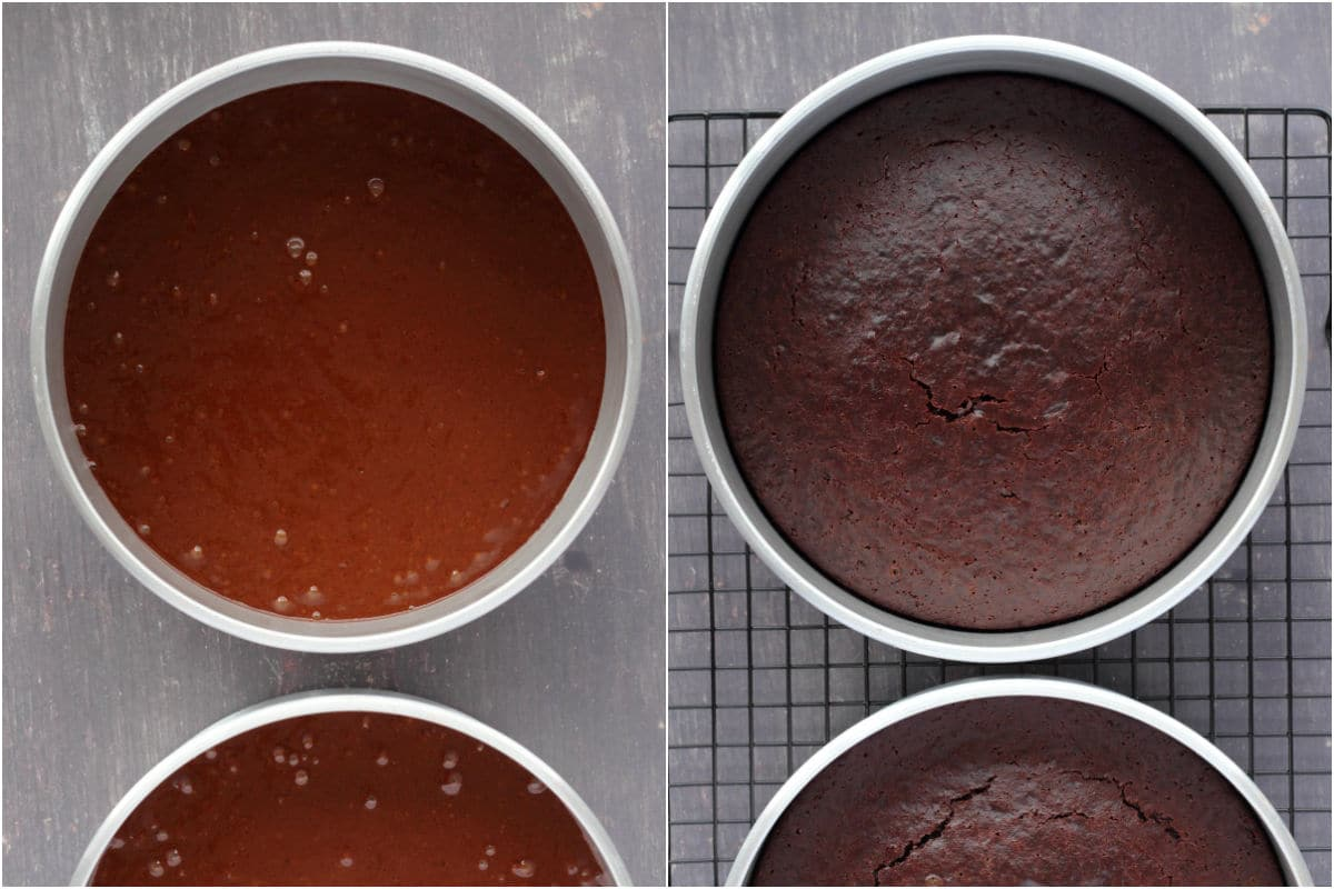 Two photo collage showing cakes in cake pans before and after baking.