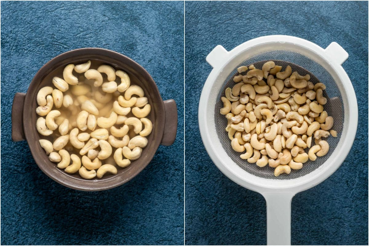 Two photo collage showing soaking cashews and then draining in a sieve.