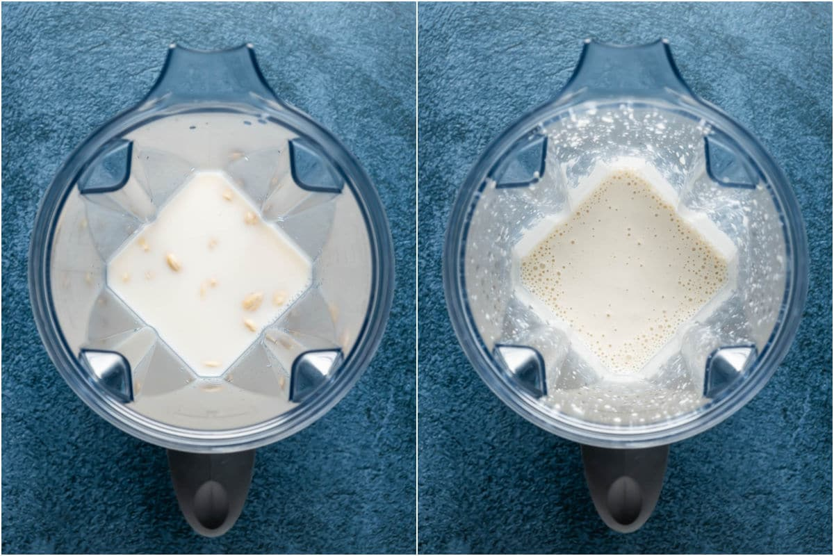 Two photo collage showing ingredients added to blender jug and then blended.