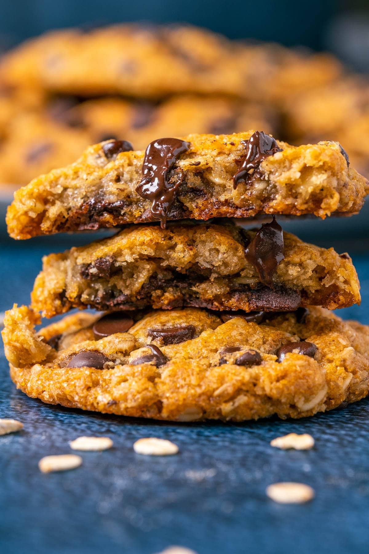 Vegan oatmeal chocolate chip cookie broken in half.