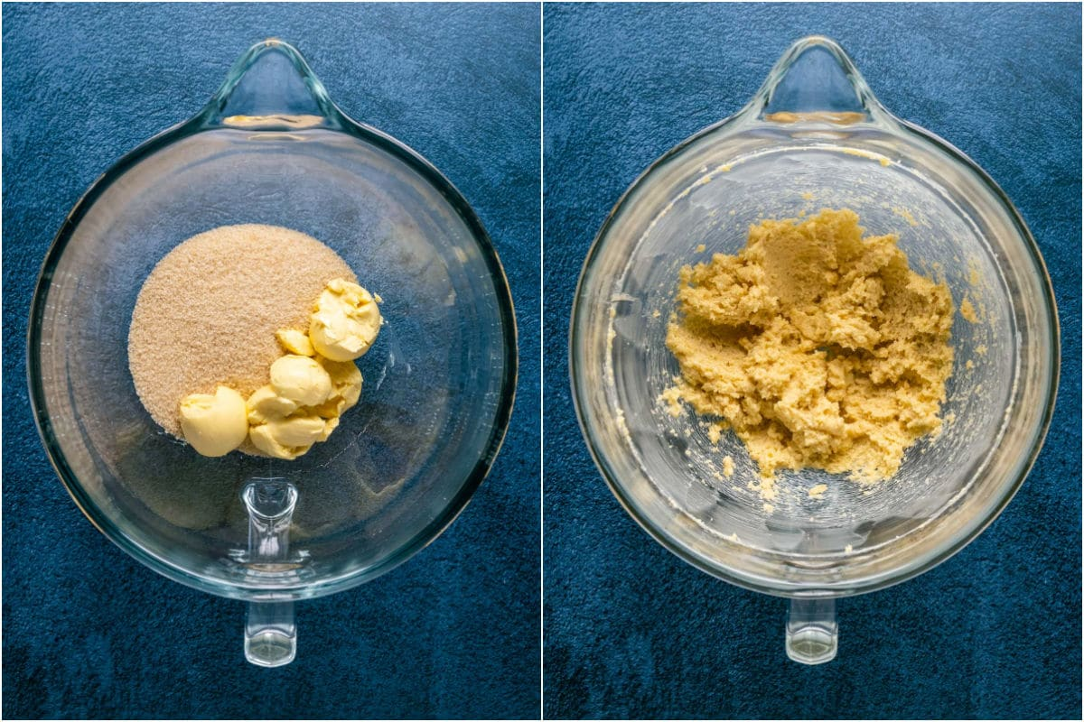 Two photo collage showing brown sugar and vegan butter added to stand mixer and creamed together.