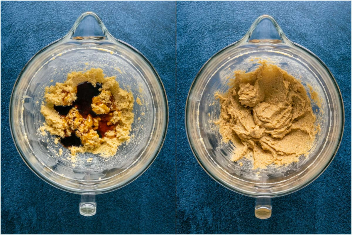 Two photo collage showing maple syrup and vanilla added to bowl and mixed in.