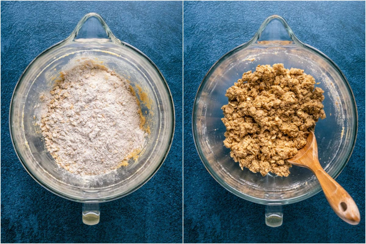 Two photo collage showing wet ingredients added to dry and mixed into a crumbly cookie dough.