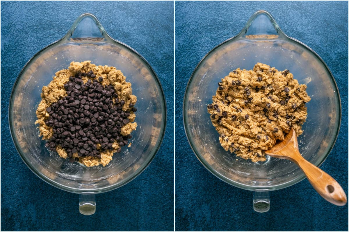 Two photo collage showing chocolate chips added to bowl and mixed in.