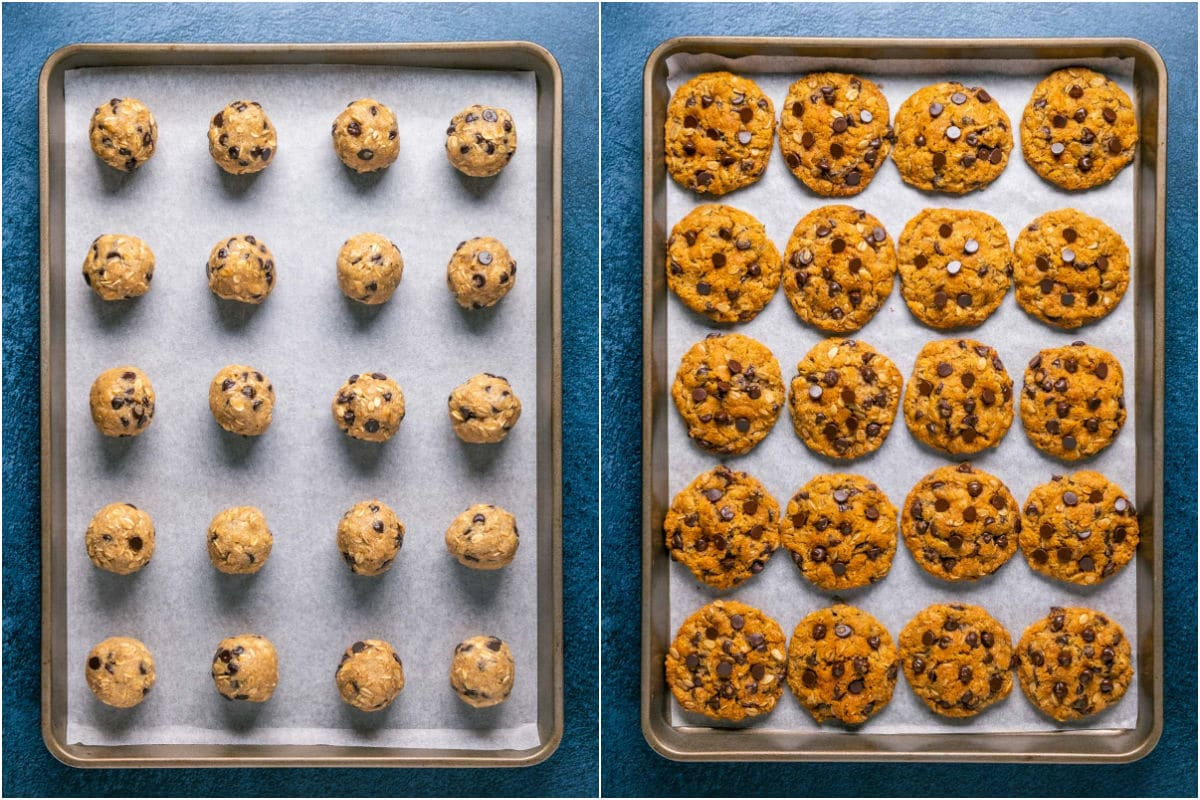 Two photo collage showing cookies rolled into balls on parchment lined tray and then the baked cookies.