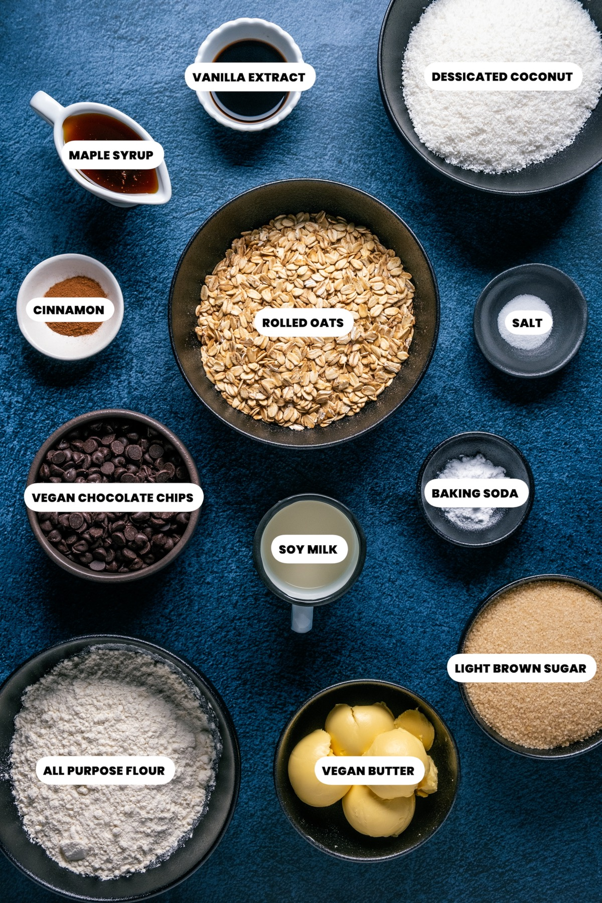 Photo of the ingredients needed to make vegan oatmeal chocolate chip cookies.
